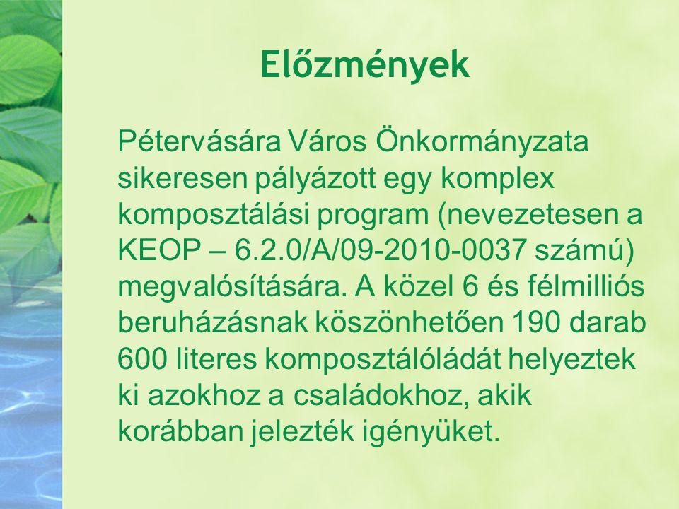 Előzmények Pétervására Város Önkormányzata sikeresen pályázott egy komplex komposztálási program (nevezetesen a KEOP – 6.2.0/A/09-2010-0037 számú) meg