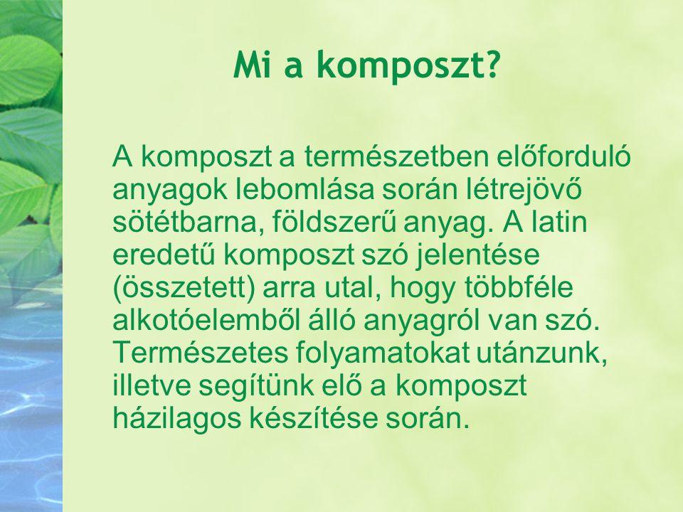 A komposztálás A komposztálódás az a folyamat, amikor a mikroorganizmusok a megfelelő körülmények között lebontják a hulladékot.