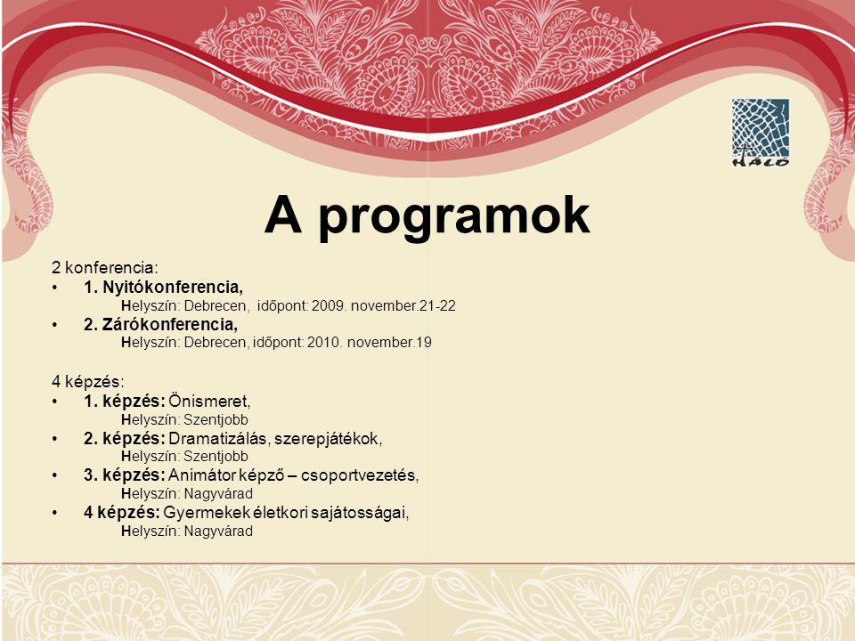 A programok 2 konferencia: 1. Nyitókonferencia, Helyszín: Debrecen, időpont: 2009.