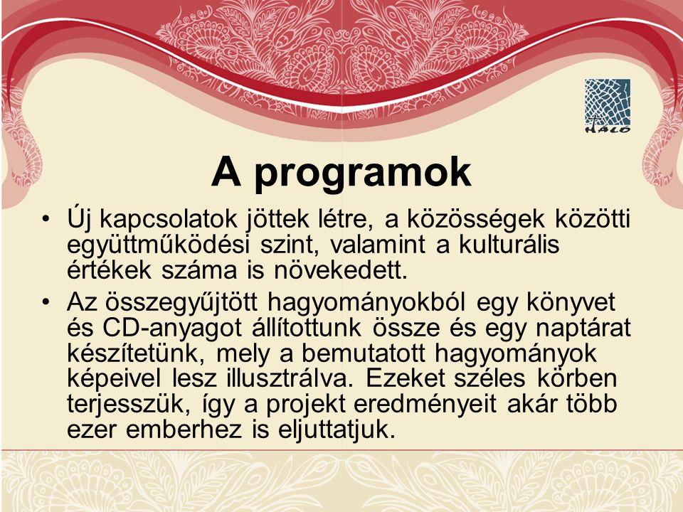 A programok Új kapcsolatok jöttek létre, a közösségek közötti együttműködési szint, valamint a kulturális értékek száma is növekedett.