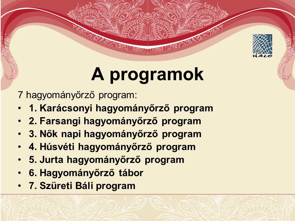 A programok 7 hagyományőrző program: 1.Karácsonyi hagyományőrző program 2.