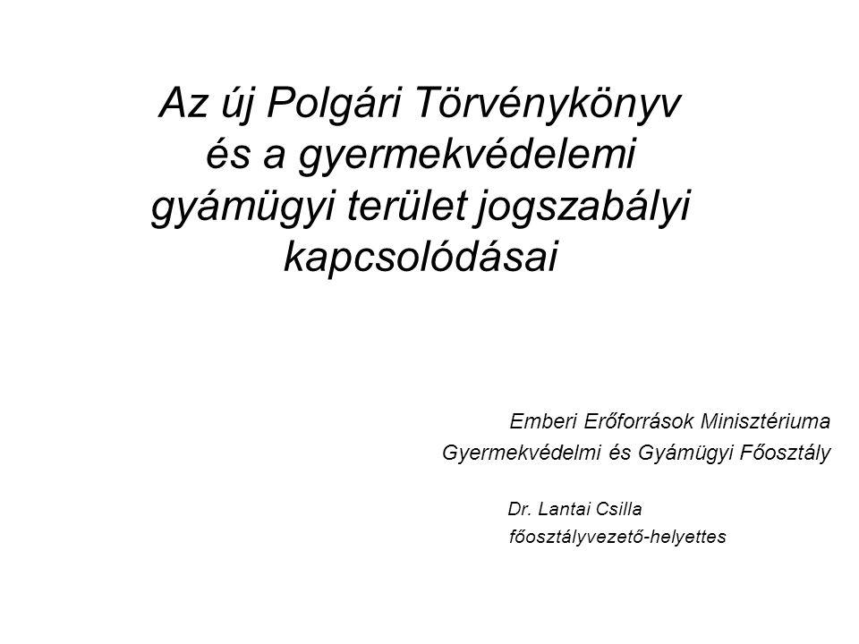 A jogszabályi háttér A Polgári Törvénykönyvről szóló 2013.
