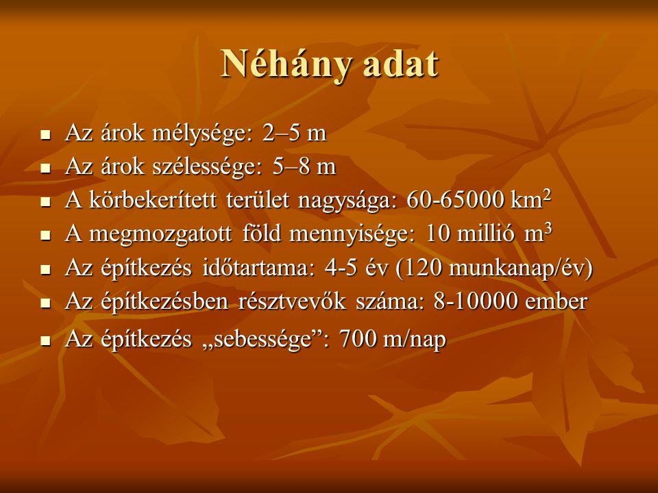 """Néhány adat Az árok mélysége: 2–5 m Az árok mélysége: 2–5 m Az árok szélessége: 5–8 m Az árok szélessége: 5–8 m A körbekerített terület nagysága: 60-65000 km 2 A körbekerített terület nagysága: 60-65000 km 2 A megmozgatott föld mennyisége: 10 millió m 3 A megmozgatott föld mennyisége: 10 millió m 3 Az építkezés időtartama: 4-5 év (120 munkanap/év) Az építkezés időtartama: 4-5 év (120 munkanap/év) Az építkezésben résztvevők száma: 8-10000 ember Az építkezésben résztvevők száma: 8-10000 ember Az építkezés """"sebessége : 700 m/nap Az építkezés """"sebessége : 700 m/nap"""