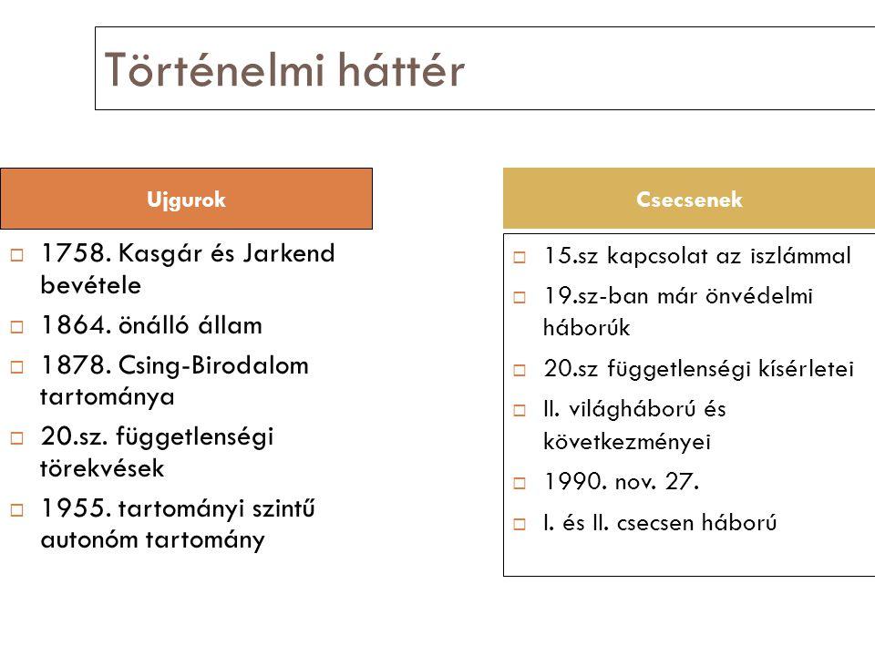 Történelmi háttér  1758. Kasgár és Jarkend bevétele  1864.