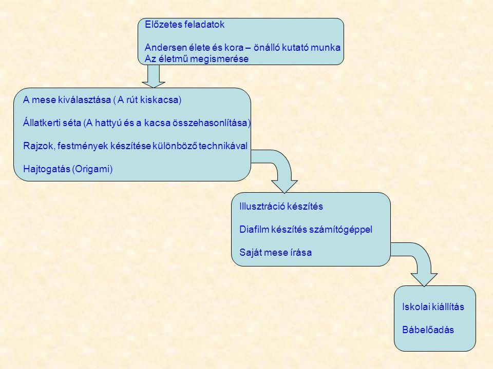 Előzetes feladatok Andersen élete és kora – önálló kutató munka Az életmű megismerése A mese kiválasztása ( A rút kiskacsa) Állatkerti séta (A hattyú