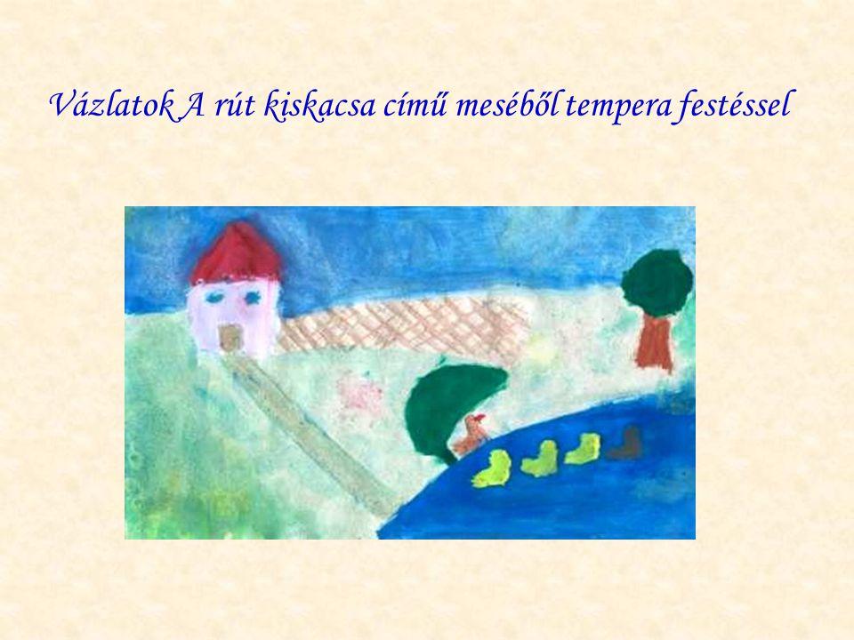 Vázlatok A rút kiskacsa című meséből tempera festéssel