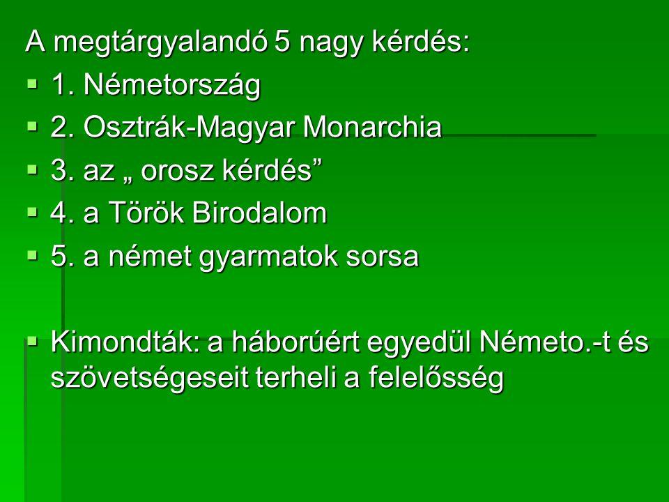 """A megtárgyalandó 5 nagy kérdés:  1. Németország  2. Osztrák-Magyar Monarchia  3. az """" orosz kérdés""""  4. a Török Birodalom  5. a német gyarmatok s"""