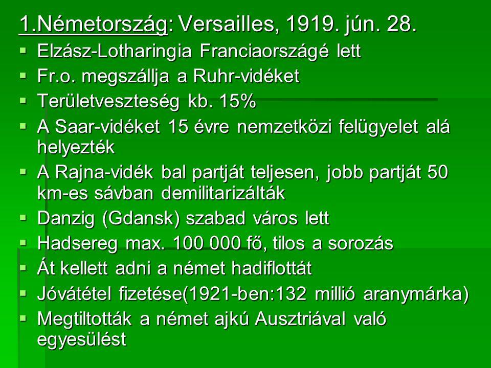 1.Németország: Versailles, 1919. jún. 28.  Elzász-Lotharingia Franciaországé lett  Fr.o. megszállja a Ruhr-vidéket  Területveszteség kb. 15%  A Sa