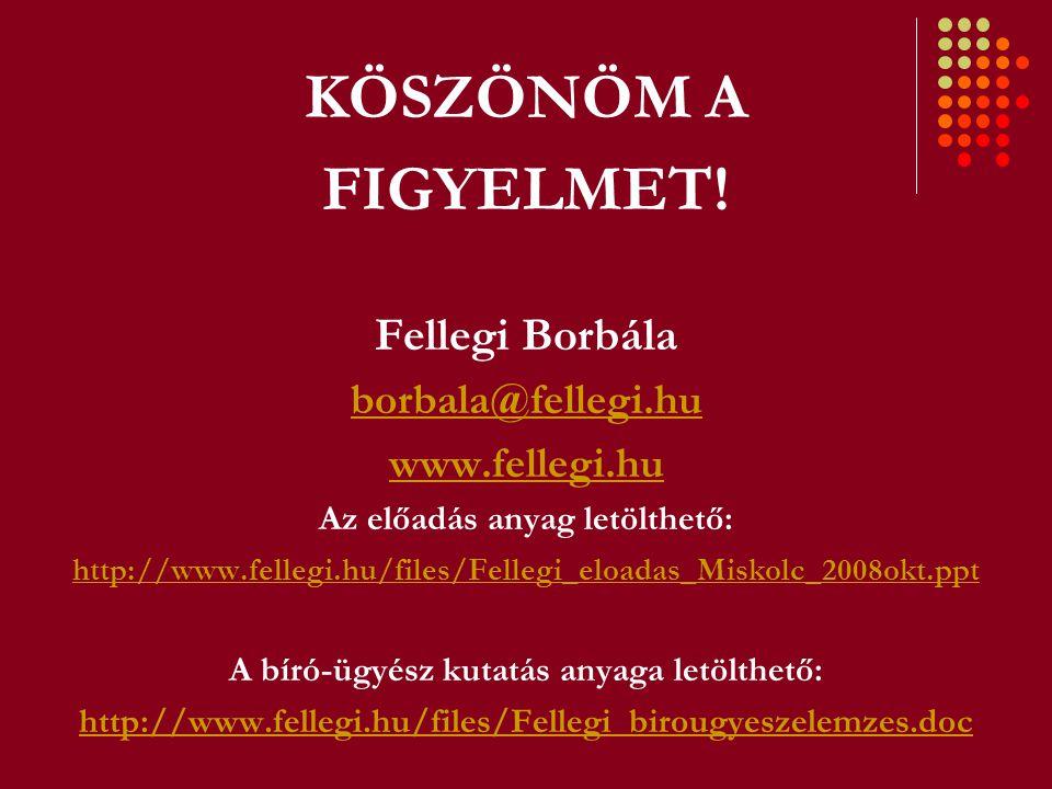 KÖSZÖNÖM A FIGYELMET! Fellegi Borbála borbala@fellegi.hu www.fellegi.hu Az előadás anyag letölthető: http://www.fellegi.hu/files/Fellegi_eloadas_Misko