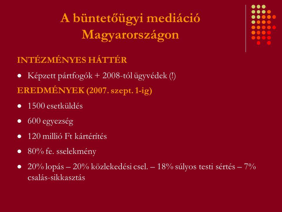 A büntetőügyi mediáció Magyarországon INTÉZMÉNYES HÁTTÉR Képzett pártfogók + 2008-tól ügyvédek (!) EREDMÉNYEK (2007. szept. 1-ig) 1500 esetküldés 600
