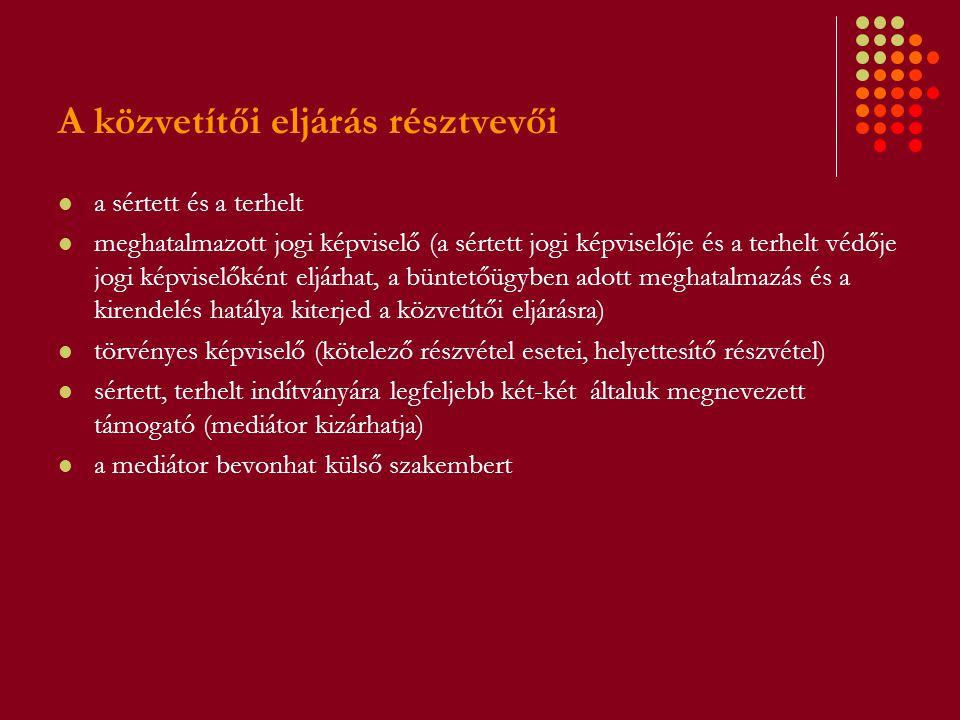 A közvetítői eljárás résztvevői a sértett és a terhelt meghatalmazott jogi képviselő (a sértett jogi képviselője és a terhelt védője jogi képviselőkén