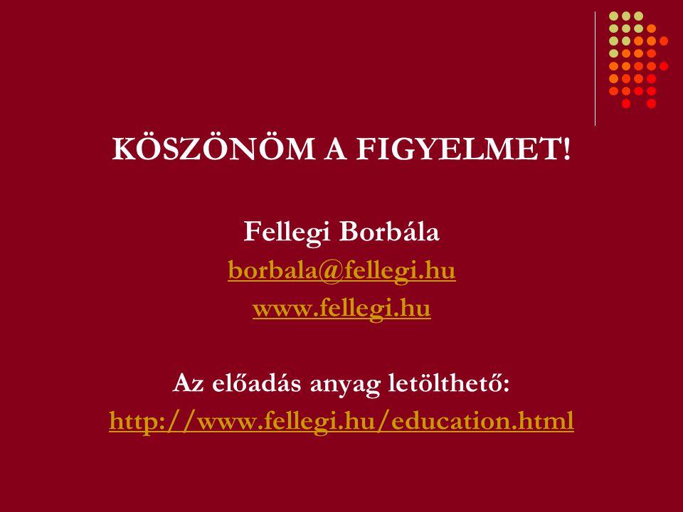 KÖSZÖNÖM A FIGYELMET! Fellegi Borbála borbala@fellegi.hu www.fellegi.hu Az előadás anyag letölthető: http://www.fellegi.hu/education.html