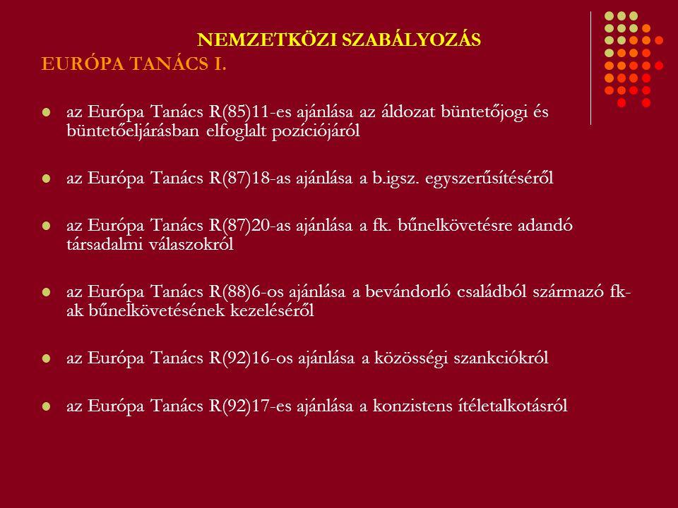 NEMZETKÖZI SZABÁLYOZÁS EURÓPA TANÁCS I. az Európa Tanács R(85)11-es ajánlása az áldozat büntetőjogi és büntetőeljárásban elfoglalt pozíciójáról az Eur