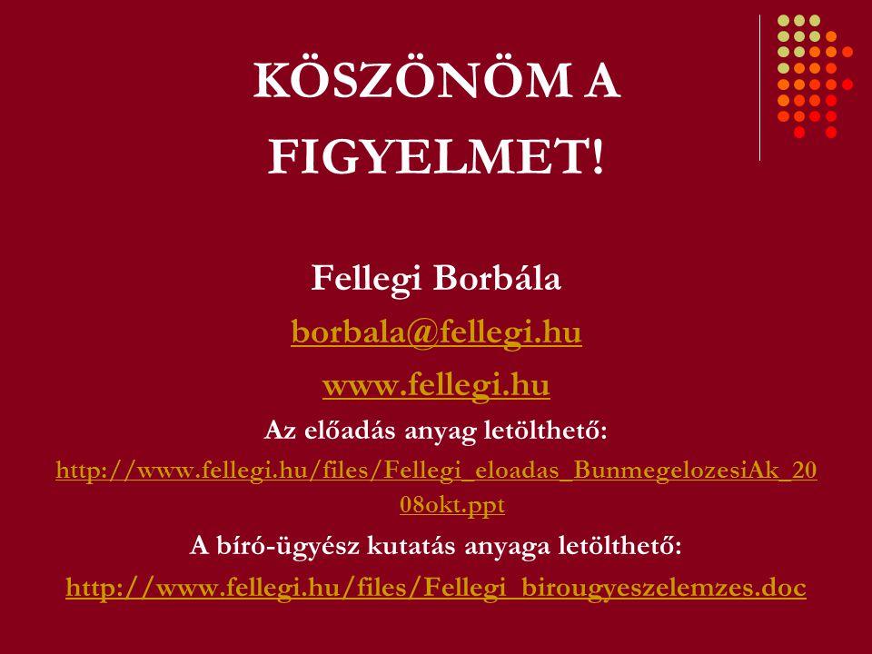 KÖSZÖNÖM A FIGYELMET! Fellegi Borbála borbala@fellegi.hu www.fellegi.hu Az előadás anyag letölthető: http://www.fellegi.hu/files/Fellegi_eloadas_Bunme