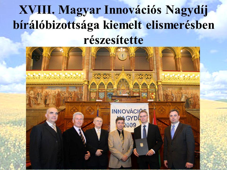 XVIII. Magyar Innovációs Nagydíj bírálóbizottsága kiemelt elismerésben részesítette