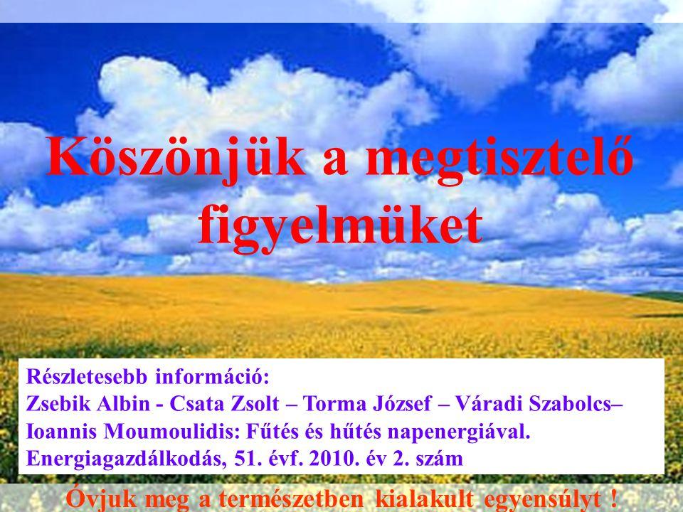 Köszönjük a megtisztelő figyelmüket Részletesebb információ: Zsebik Albin - Csata Zsolt – Torma József – Váradi Szabolcs– Ioannis Moumoulidis: Fűtés é