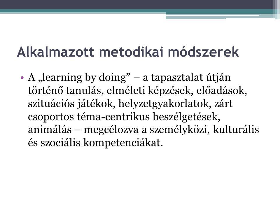 """Alkalmazott metodikai módszerek A """"learning by doing – a tapasztalat útján történő tanulás, elméleti képzések, előadások, szituációs játékok, helyzetgyakorlatok, zárt csoportos téma-centrikus beszélgetések, animálás – megcélozva a személyközi, kulturális és szociális kompetenciákat."""