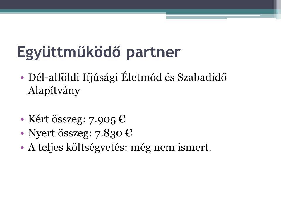 Együttműködő partner Dél-alföldi Ifjúsági Életmód és Szabadidő Alapítvány Kért összeg: 7.905 € Nyert összeg: 7.830 € A teljes költségvetés: még nem is