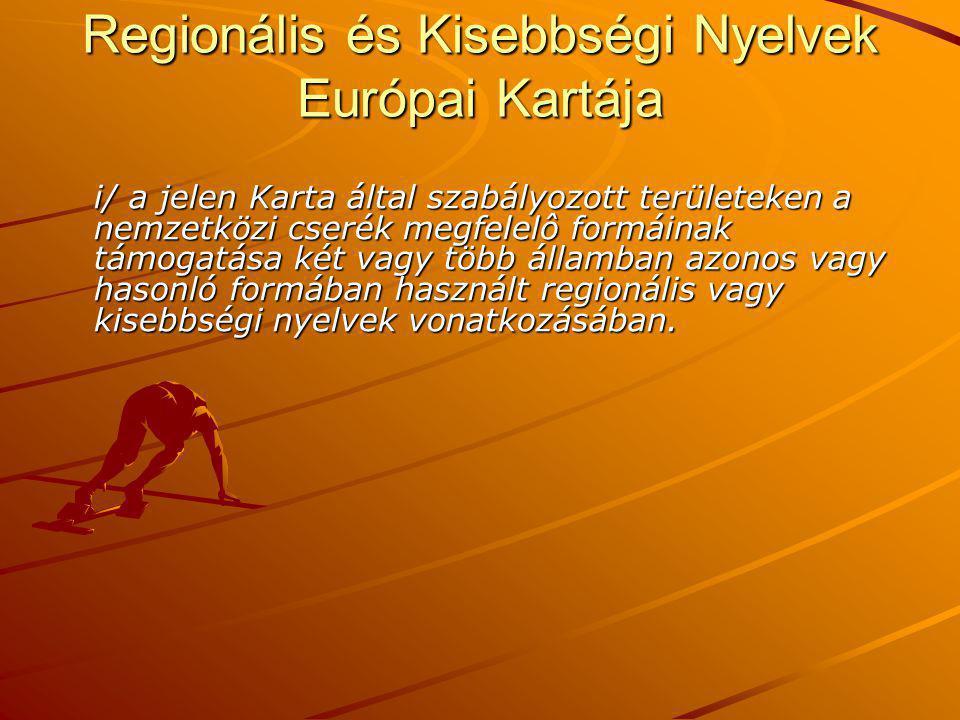 Regionális és Kisebbségi Nyelvek Európai Kartája i/ a jelen Karta által szabályozott területeken a nemzetközi cserék megfelelô formáinak támogatása két vagy több államban azonos vagy hasonló formában használt regionális vagy kisebbségi nyelvek vonatkozásában.