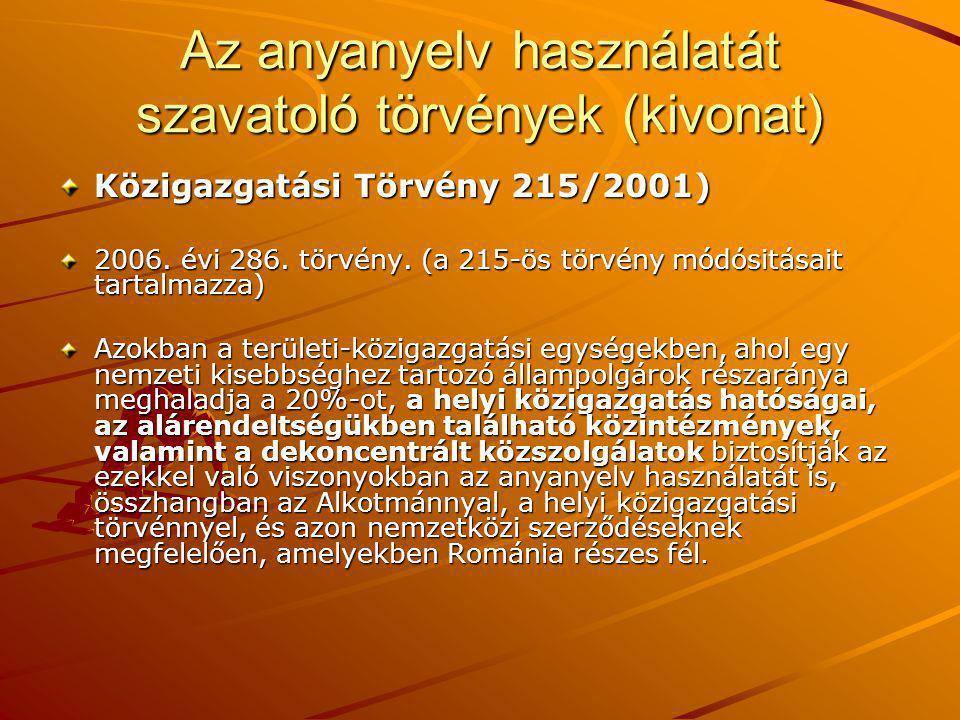 Közigazgatási Törvény 215/2001) 2006. évi 286. törvény.