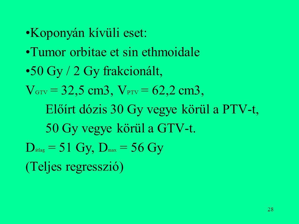 28 Koponyán kívüli eset: Tumor orbitae et sin ethmoidale 50 Gy / 2 Gy frakcionált, V GTV = 32,5 cm3, V PTV = 62,2 cm3, Előírt dózis 30 Gy vegye körül