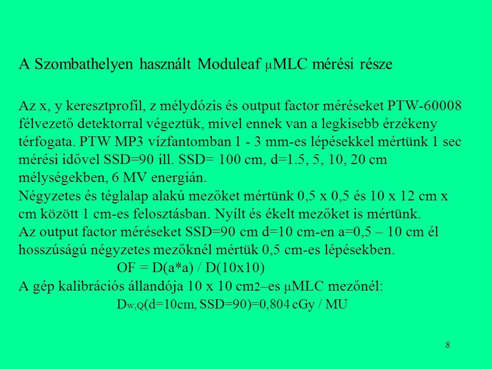 8 A Szombathelyen használt Moduleaf μ MLC mérési része Az x, y keresztprofil, z mélydózis és output factor méréseket PTW-60008 félvezető detektorral v