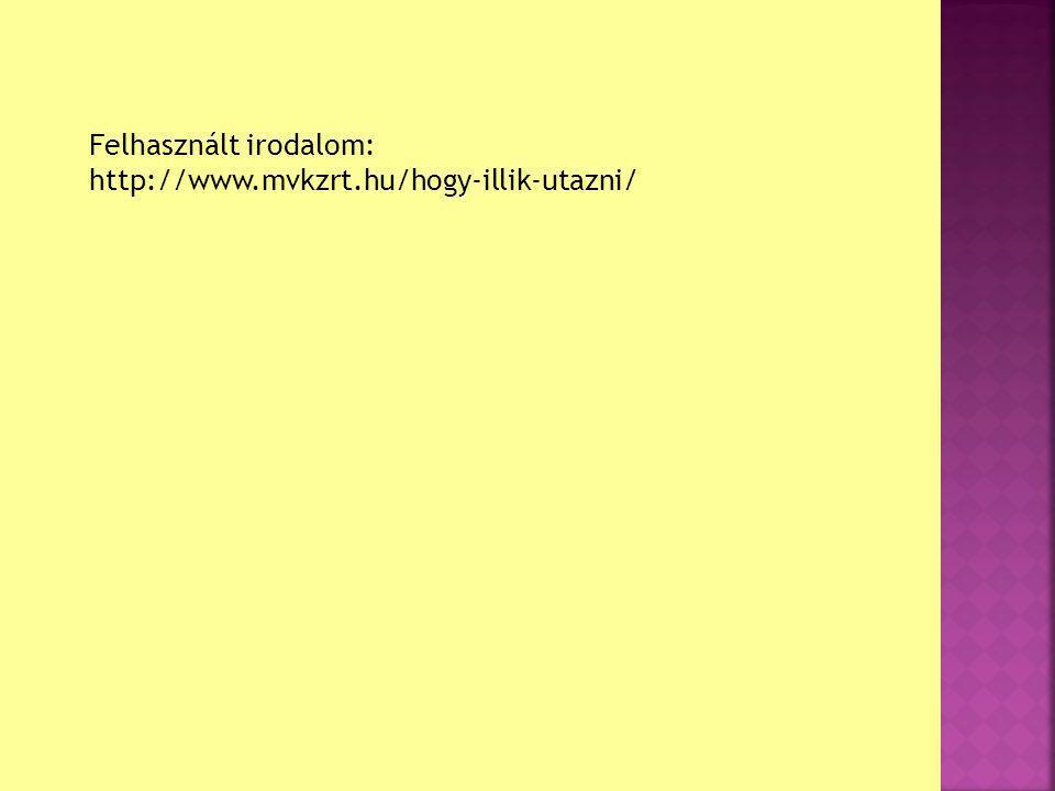 Felhasznált irodalom: http://www.mvkzrt.hu/hogy-illik-utazni/