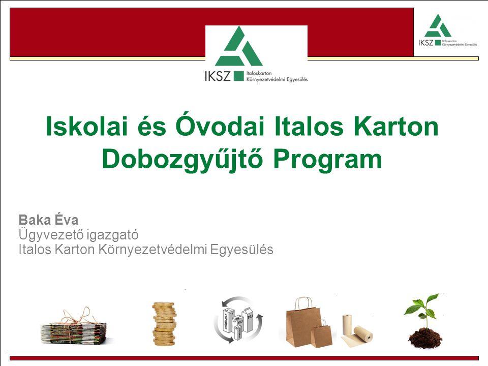 . Iskolai és Óvodai Italos Karton Dobozgyűjtő Program Baka Éva Ügyvezető igazgató Italos Karton Környezetvédelmi Egyesülés