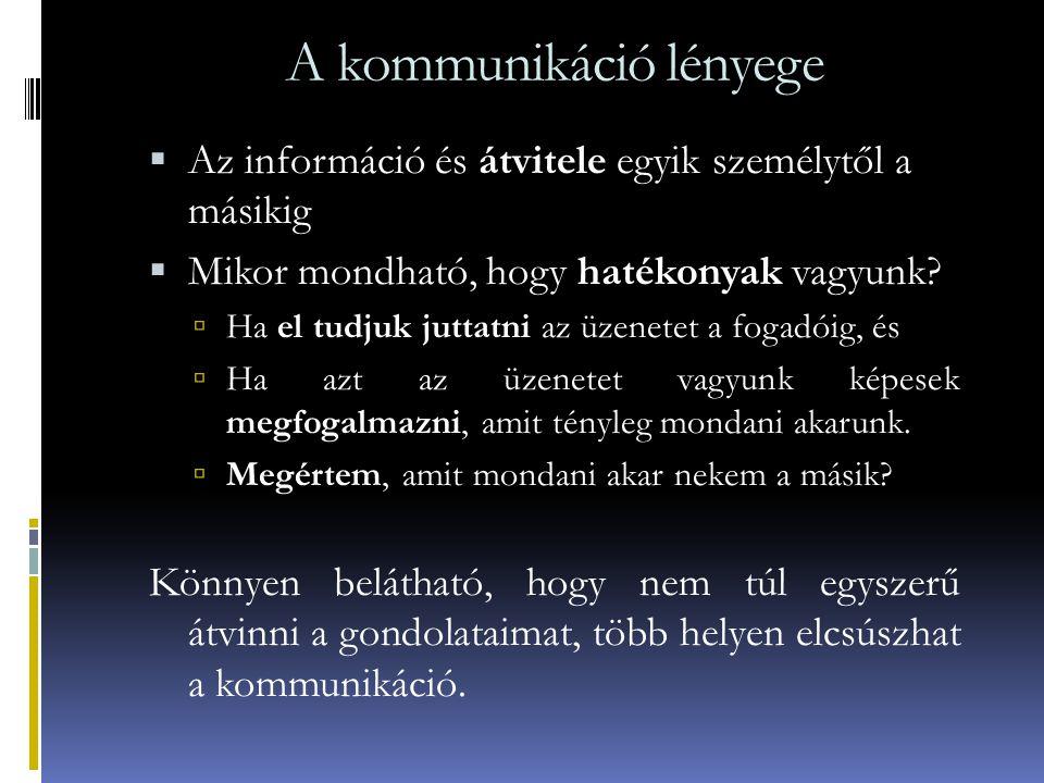 A kommunikáció lényege  Az információ és átvitele egyik személytől a másikig  Mikor mondható, hogy hatékonyak vagyunk?  Ha el tudjuk juttatni az üz