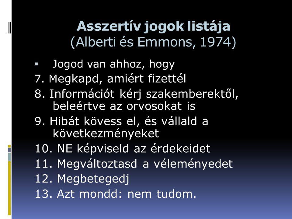 Asszertív jogok listája (Alberti és Emmons, 1974)  Jogod van ahhoz, hogy 7. M egkapd, amiért fizettél 8. Információt kérj szakemberektől, beleértve a