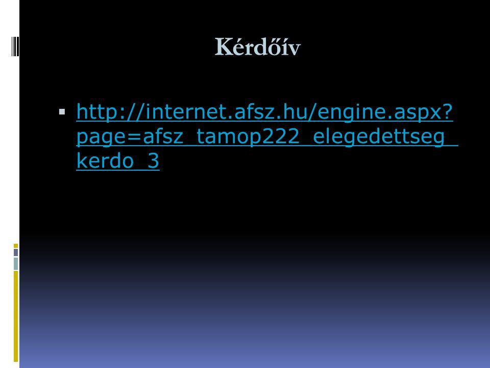 Kérdőív  http://internet.afsz.hu/engine.aspx? page=afsz_tamop222_elegedettseg_ kerdo_3 http://internet.afsz.hu/engine.aspx? page=afsz_tamop222_eleged