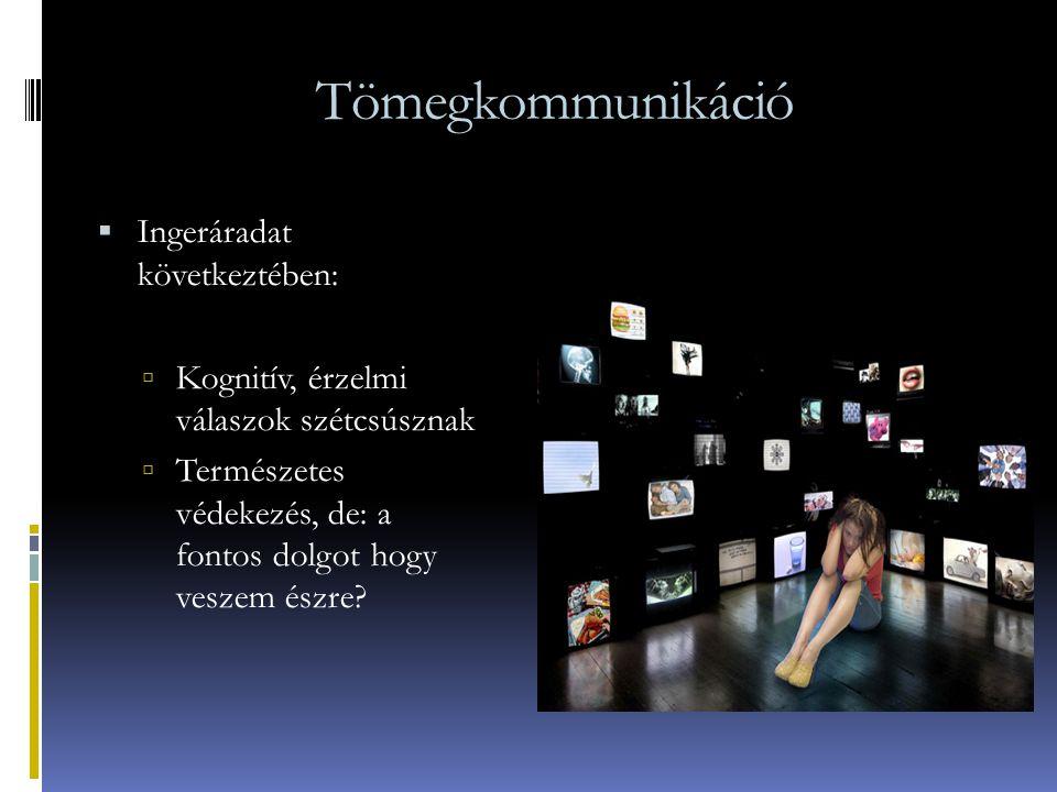 Tömegkommunikáció  Ingeráradat következtében:  Kognitív, érzelmi válaszok szétcsúsznak  Természetes védekezés, de: a fontos dolgot hogy veszem észr