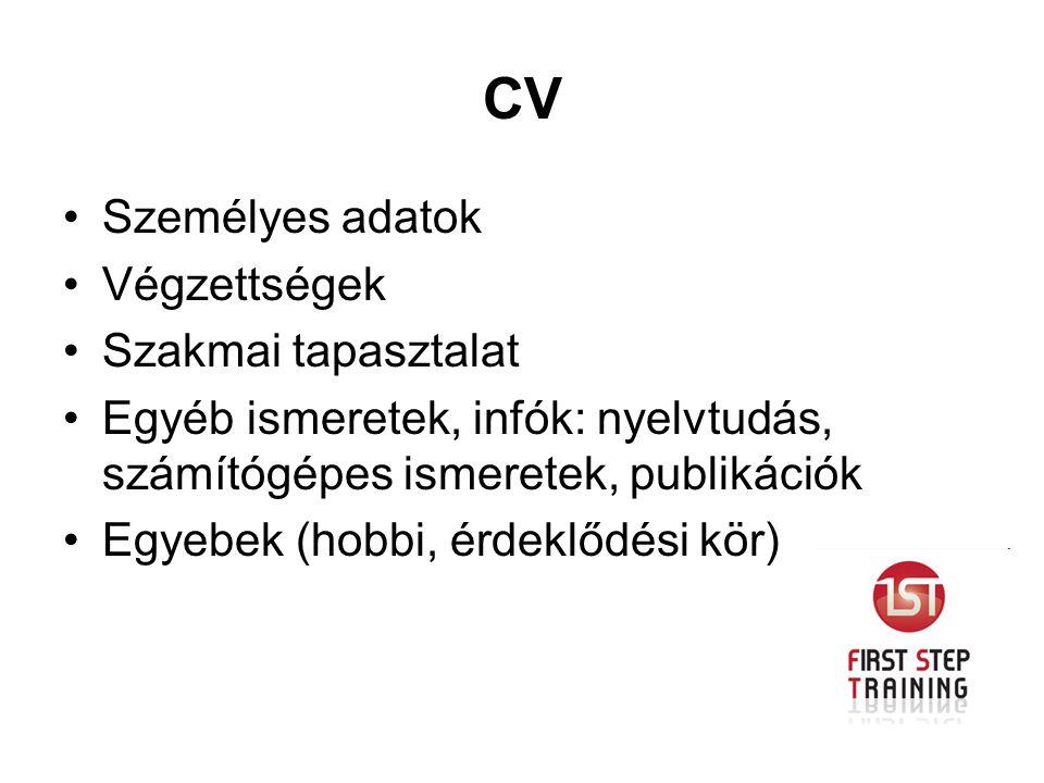 CV Személyes adatok Végzettségek Szakmai tapasztalat Egyéb ismeretek, infók: nyelvtudás, számítógépes ismeretek, publikációk Egyebek (hobbi, érdeklődé