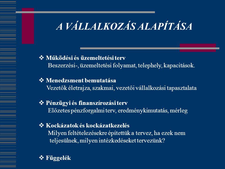A VÁLLALKOZÁS ALAPÍTÁSA  Működési és üzemeltetési terv Beszerzési-, üzemeltetési folyamat, telephely, kapacitások.  Menedzsment bemutatása Vezetők é