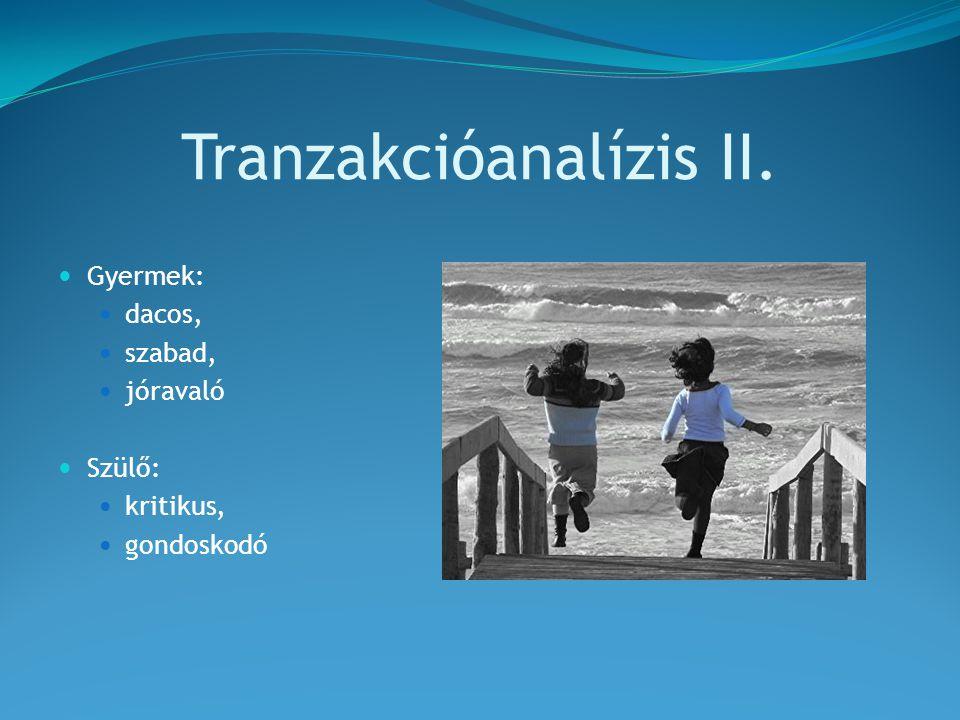 Tranzakcióanalízis II. Gyermek: dacos, szabad, jóravaló Szülő: kritikus, gondoskodó