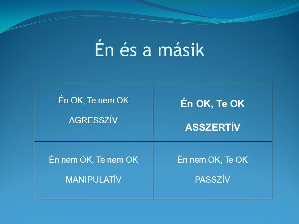 Én és a másik Én OK, Te nem OK AGRESSZÍV Én OK, Te OK ASSZERTÍV Én nem OK, Te nem OK MANIPULATÍV Én nem OK, Te OK PASSZÍV