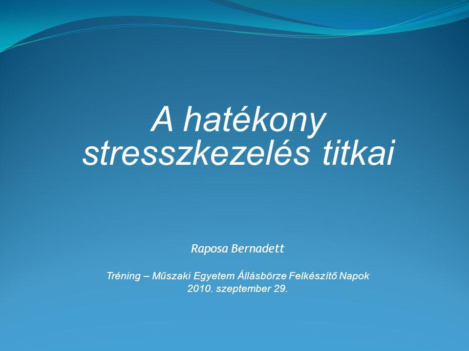 Tréningcélok a stressz természetét jobban megérteni rávilágítani, milyen mértékben vagy stresszes és mi állhat mögötte a stresszkezelés rád jellemző módját feltérképezni stresszkezelő technikákat tanulni