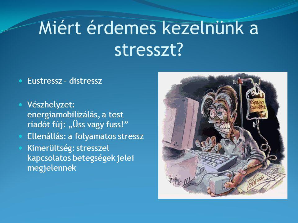A stressz jelei Fizikai:  Magas vérnyomás  Diabetes  Fejfájások  Fekélybetegségek  Allergia  Álmatlanság  Kimerültség Érzelmi:  Depresszió  Szorongás  Félelmek, pánik  Ingerlékenység  Harag Viselkedéses:  Munka-, egyetemkerülés, késés  Visszavonulás,társaság kerülés  Abúzusok (alkohol,drog,nikotin)  Szexuális problémák  Változás az étkezési szokásokban