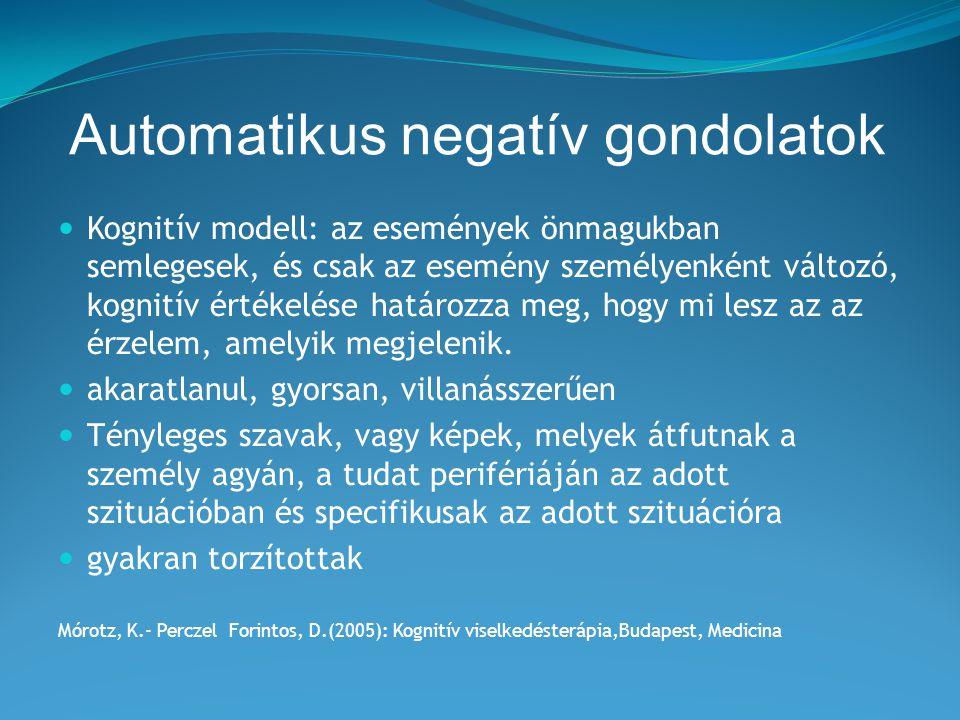 Automatikus negatív gondolatok Kognitív modell: az események önmagukban semlegesek, és csak az esemény személyenként változó, kognitív értékelése hatá