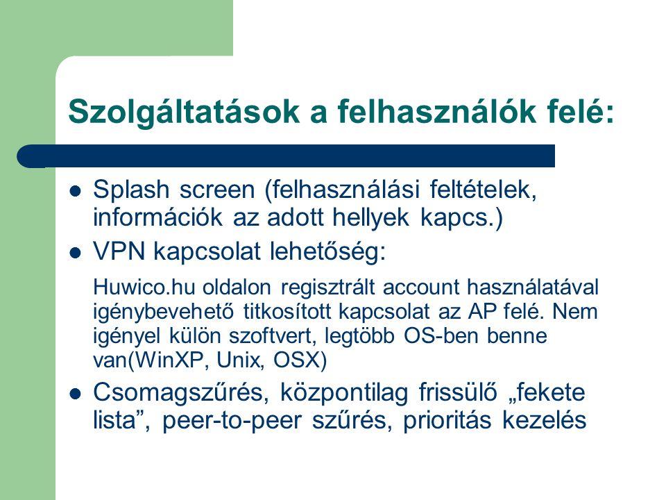 Szolgáltatások a felhasználók felé: Splash screen (felhasználási feltételek, információk az adott hellyek kapcs.) VPN kapcsolat lehetőség: Huwico.hu oldalon regisztrált account használatával igénybevehető titkosított kapcsolat az AP felé.