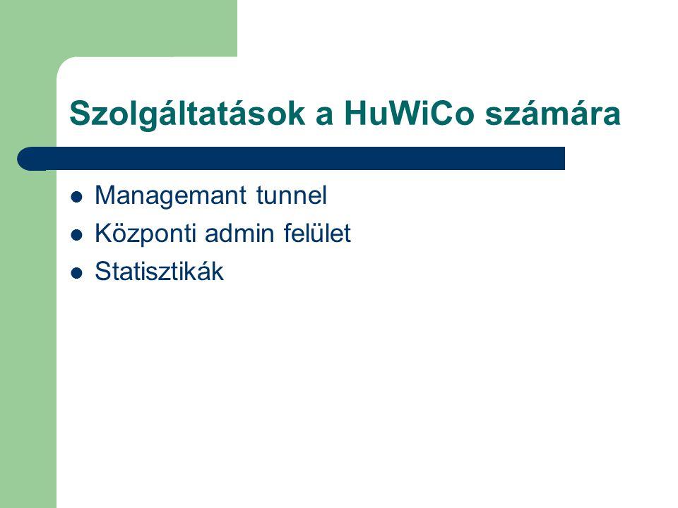 Szolgáltatások a HuWiCo számára Managemant tunnel Központi admin felület Statisztikák