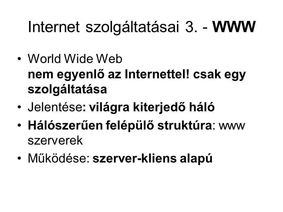 Internet szolgáltatásai 3.- WWW World Wide Web nem egyenlő az Internettel.