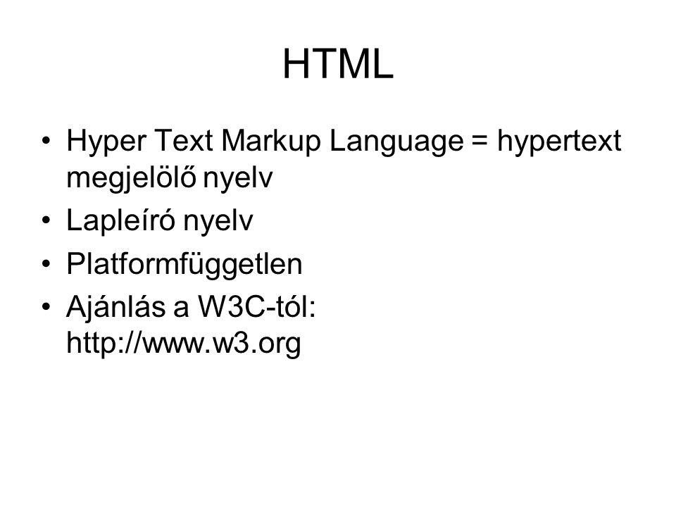 HTML Hyper Text Markup Language = hypertext megjelölő nyelv Lapleíró nyelv Platformfüggetlen Ajánlás a W3C-tól: http://www.w3.org