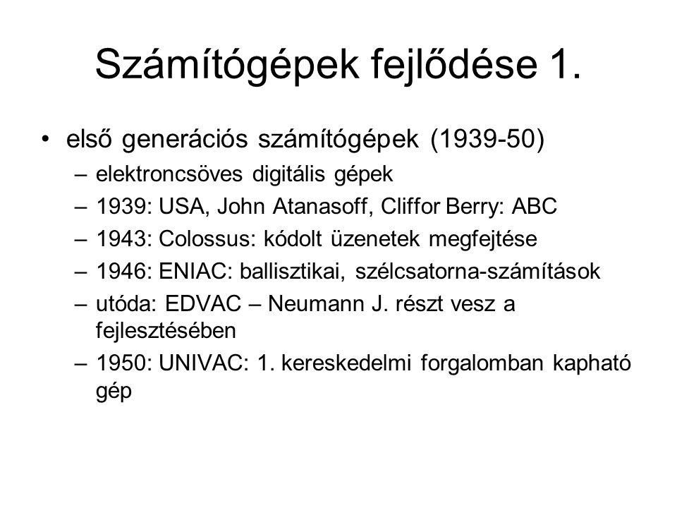 Számítógépek fejlődése 1.