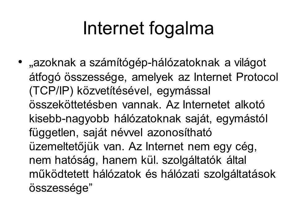 """Internet fogalma """" azoknak a számítógép-hálózatoknak a világot átfogó összessége, amelyek az Internet Protocol (TCP/IP) közvetítésével, egymással összeköttetésben vannak."""