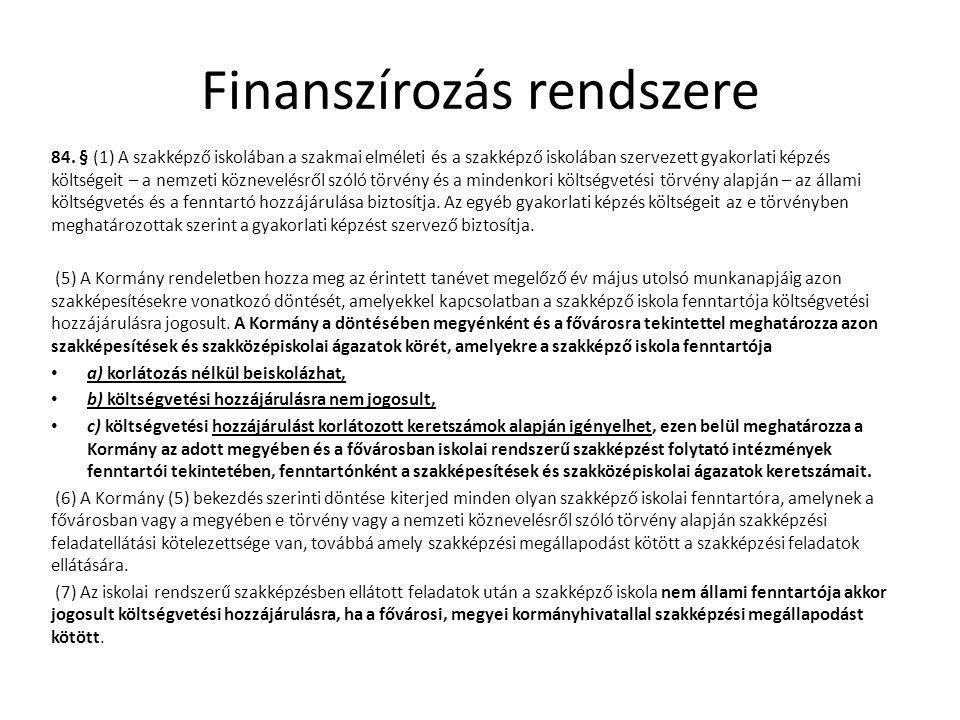 Finanszírozás rendszere 84.