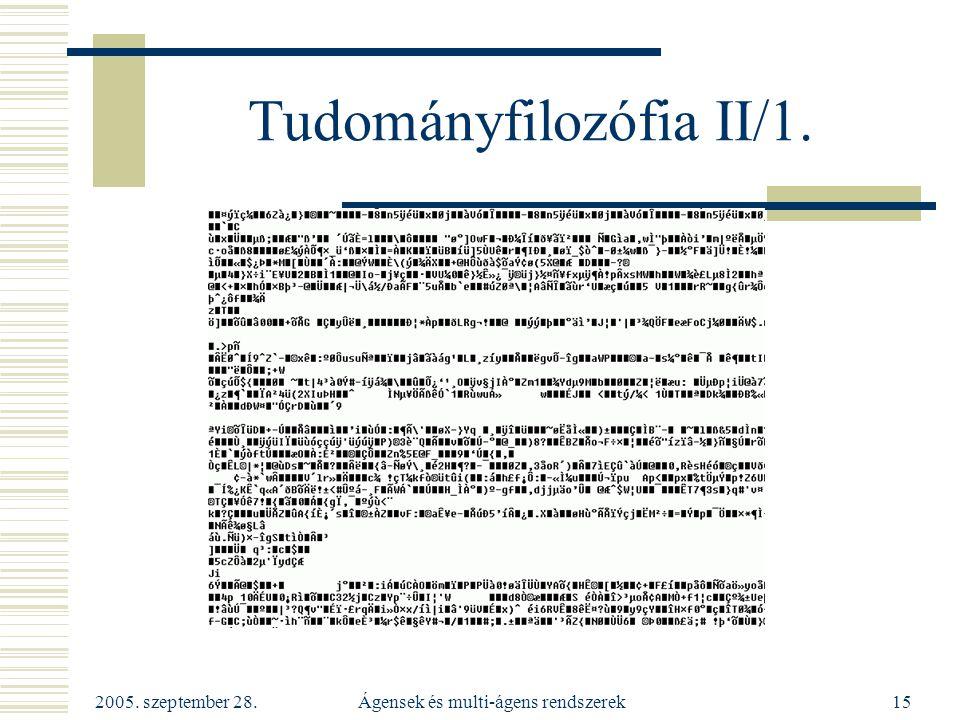 2005. szeptember 28. Ágensek és multi-ágens rendszerek15 Tudományfilozófia II/1.