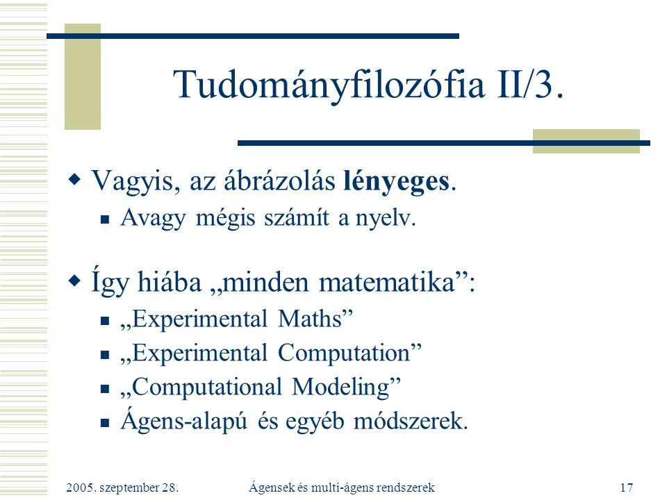 2005. szeptember 28. Ágensek és multi-ágens rendszerek17 Tudományfilozófia II/3.  Vagyis, az ábrázolás lényeges. Avagy mégis számít a nyelv.  Így hi