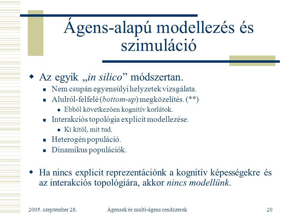 """2005. szeptember 28. Ágensek és multi-ágens rendszerek20 Ágens-alapú modellezés és szimuláció  Az egyik """"in silico"""" módszertan. Nem csupán egyensúlyi"""