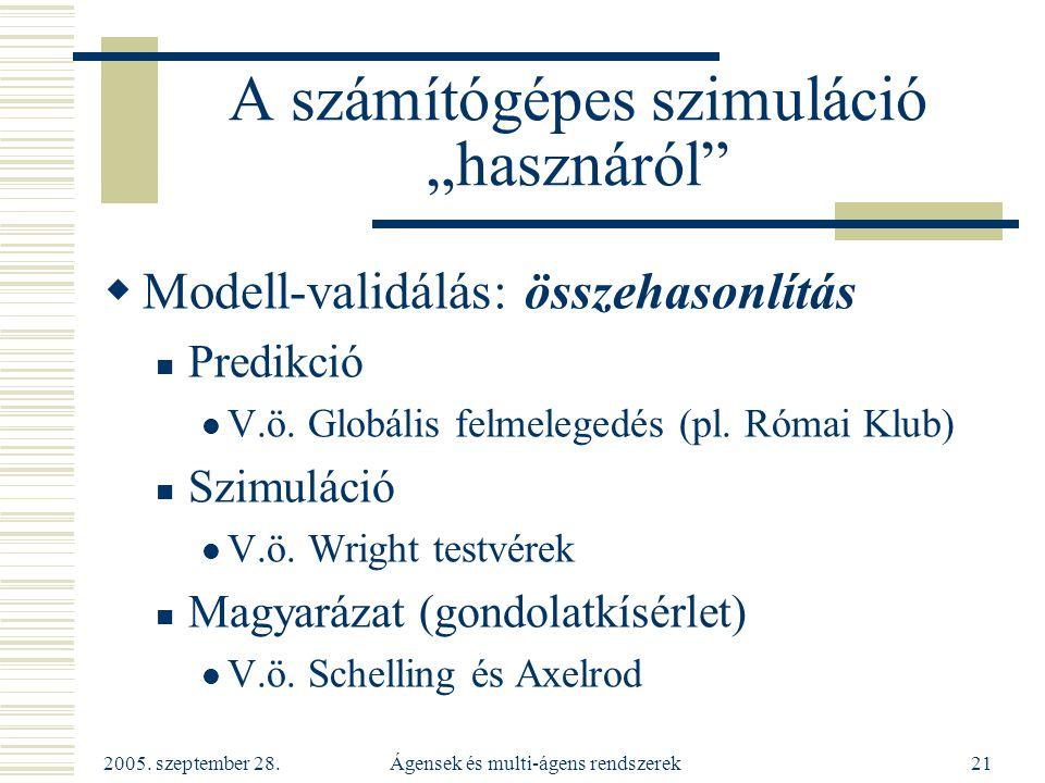 """2005. szeptember 28. Ágensek és multi-ágens rendszerek21 A számítógépes szimuláció """"hasznáról""""  Modell-validálás: összehasonlítás Predikció V.ö. Glob"""